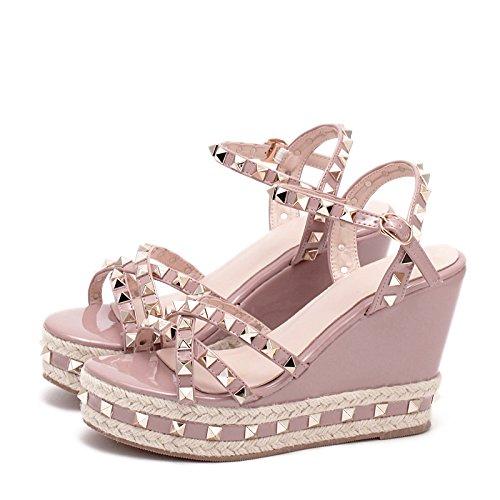 Pequeña Cuña Impermeables Sandalias 37 Tide Mujer Con Sandalias Plataforma Verano Años De De De Con Rosa Mujer Señoras Zapatos Nuevo Alta lin xing Remaches De wxAUnBWqYC
