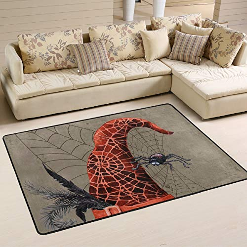 XiangHeFu Personalized Area Rugs Happy Halloween Spider Web