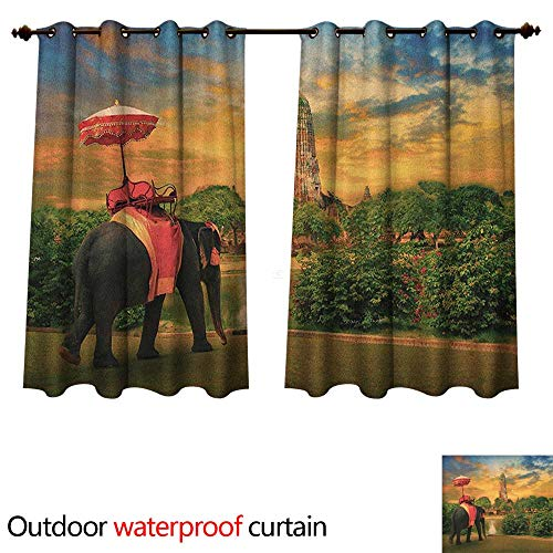 tdoor Balcony Privacy Curtain Elephant Dressing with Thai Kingdom Tradition Accessories Pagoda in Ayuthaya W72 x L72(183cm x 183cm) ()
