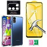 Kit Capa Anti Queda Compatível Samsung Galaxy M51 + Película 9D Vidro + Película Nano Flexível Câmera