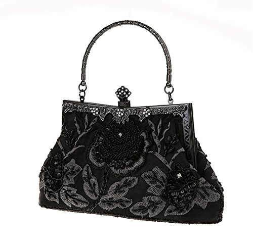 Vintage La Fait Soirée Graine Rlchiclog Noir Pochette De Sac À Perle Main XdSqF