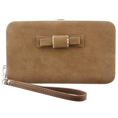 papasgjx Women Bowknot Wallets Bow Tie Pocket Long Section Zipper Purse Card (Tie Wallet)