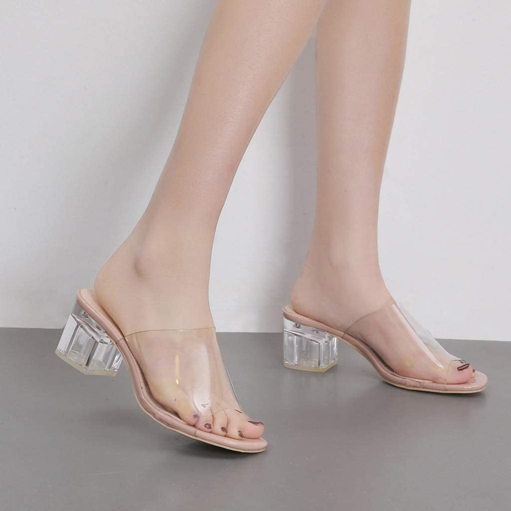 Women Clear Chunky Block Slide Sandals Low Heels Peep Toe Shoes Casual Comfortable Slippers