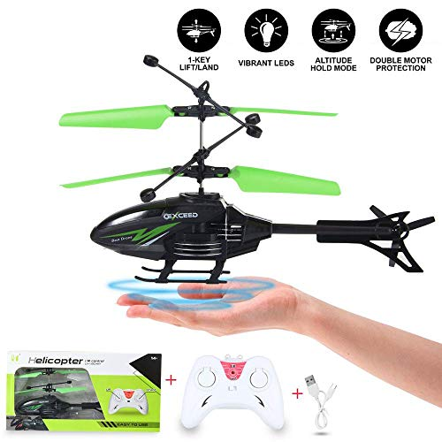 Womdee Inductive Flying Helicopter with Remote Control, Indoor/Outdoor RC Helicopter Toy with LED Flashing Light, Mini USB Rechargeable Aircraft Toy for Kids