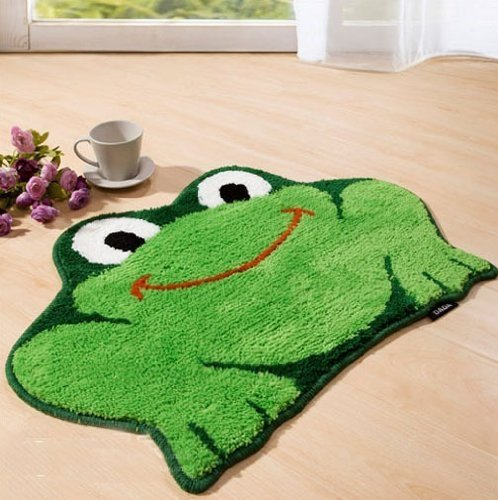 Wuudi Cartoon Frog 45*65 cm Carpet Water Absorption Non-slip Bedroom Bathroom Door Mat - Frog Bath Rugs