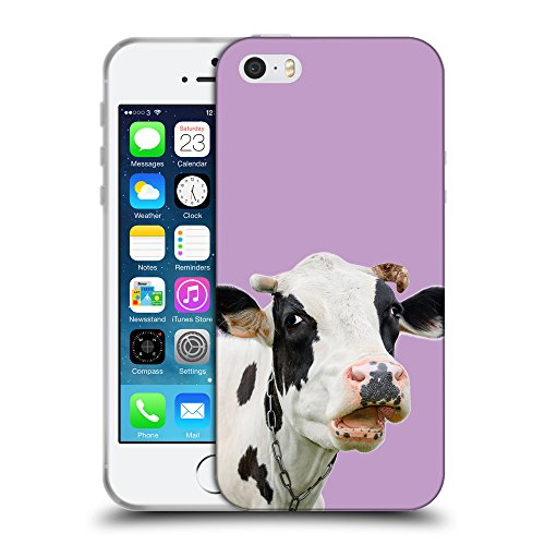 GoGoMobile Coque de Protection TPU Silicone Case pour // Q05710617 Vache curieuse Ube luminoso // Apple iPhone 5 5S 5G SE