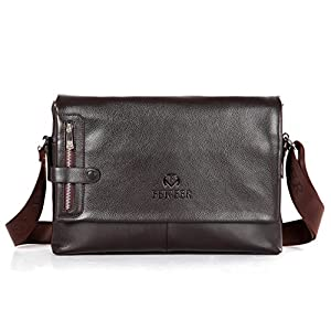Vintage Classical Mens Leather Flap Messenger Bag Shoulder Cross Body Satchel Business Working Briefcase (Brown)