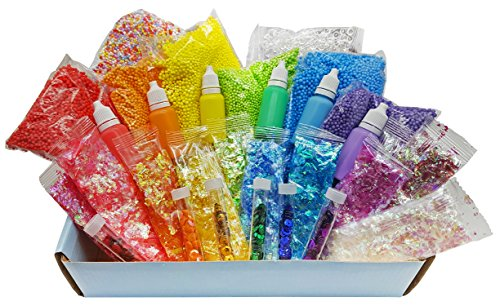 Slime Supplies Stuff [Rainbow Kit add ins] Making Slime for Girls and Boys. Kit Supplies Floam and Fishbowl Beads, Flake Glitter, Pigment, Sequins. No Glue or Activator Included. -