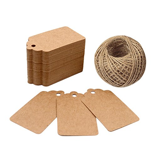Kraft Gift Tags,100 PCS Paper Tags with 100 Feet Jute String for Arts and Crafts, Wedding Christmas Day Thanksgiving,7 cm X 4 cm (Scrapbooking Tags Hang)