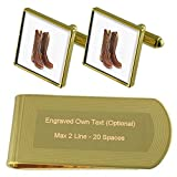 Cowboy Boots Gold-tone Cufflinks Money Clip Engraved Gift Set