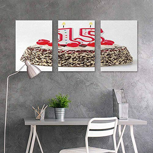 (BE.SUN Oil Painting Modern Wall Art Posters,15th Birthday,Chocolate Cherry Tasty Cake with Number Candles Surpise Party Theme Image,Office Art Decoration 3 Panels,24x47inchx3pcs,Multicolor)