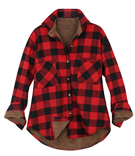ililily Women Plaid Buffalo Checkered Sherpa Lined Flannel Shirt Trucker Jacket , Buffalo Red Black,Medium