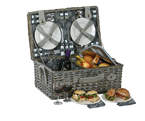 Picnic Plus Nantucket 4 person Complete Picnic Basket Vintage Grey 28 Piece Ceramic Plates, Wine Glasses, Stainless Steel Utensils,Thermal Foil insulated Food Compartment