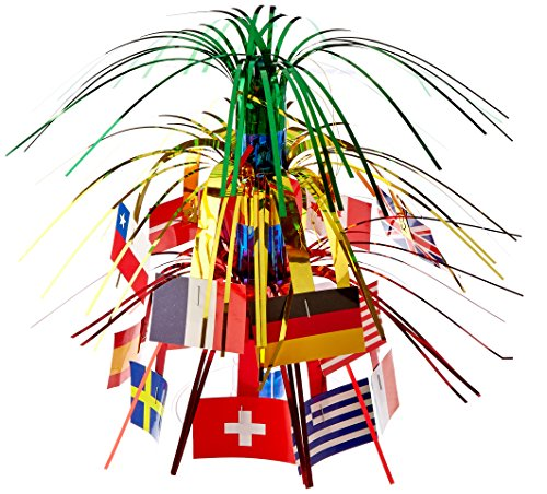 Beistle 57372 International Flag Miniature Cascade Centerpiece, 71/2-Inch
