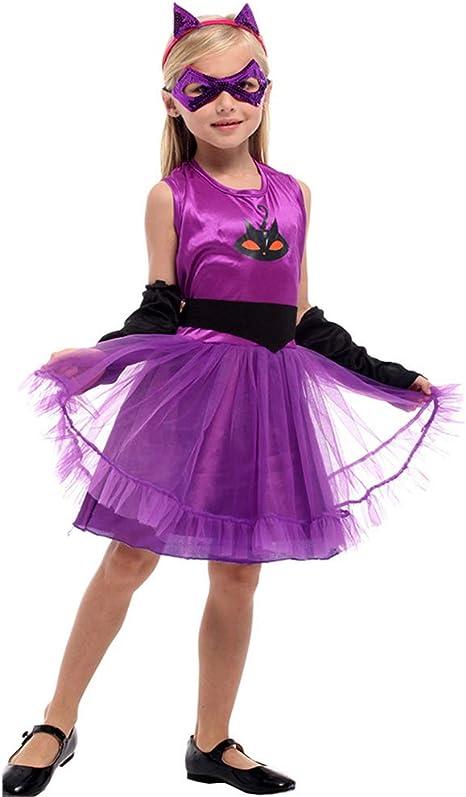 LOLANTA Disfraz de Gato para niña Disfraz de Halloween para niños ...
