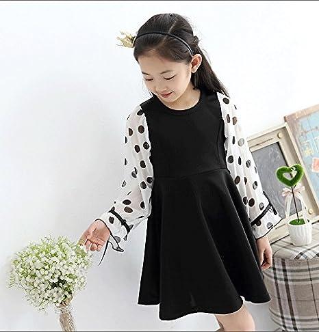 a3cb9085e1ccd Amazon.co.jp: ComUnited ワンピース 袖 水玉 女の子 ブラック (120)  服&ファッション小物