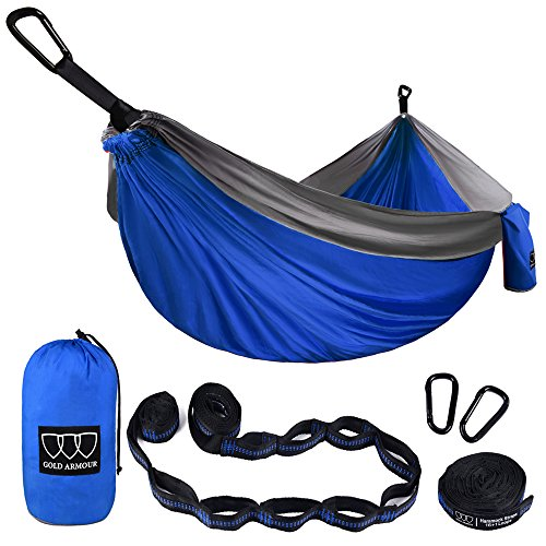 Gold Armour XL Double Parachute Camping Hammock - Tree Portable with Max 1000 lbs Breaking Capacity...