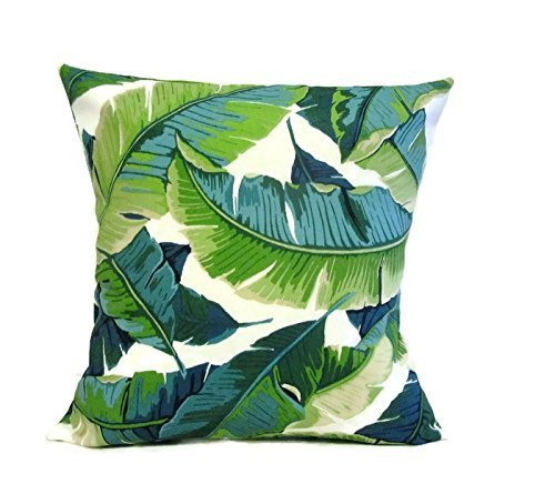 Green Tropical Banana Leaf Indoor Outdoor Solar Fabric Pillow Cover Sham