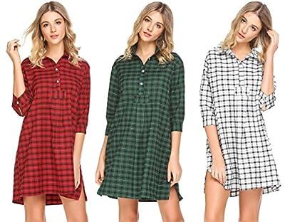 Adidome Plaid Boyfriend Nightshirt Womens Cotton 3/4 Sleeve Button Down Sleep Shirt Lounge Dress