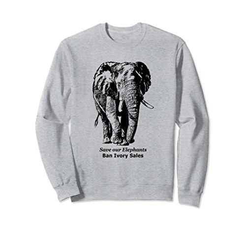 Unisex African Elephant Wildlife Sweatshirt for Elephant Lovers 2XL Heather Grey