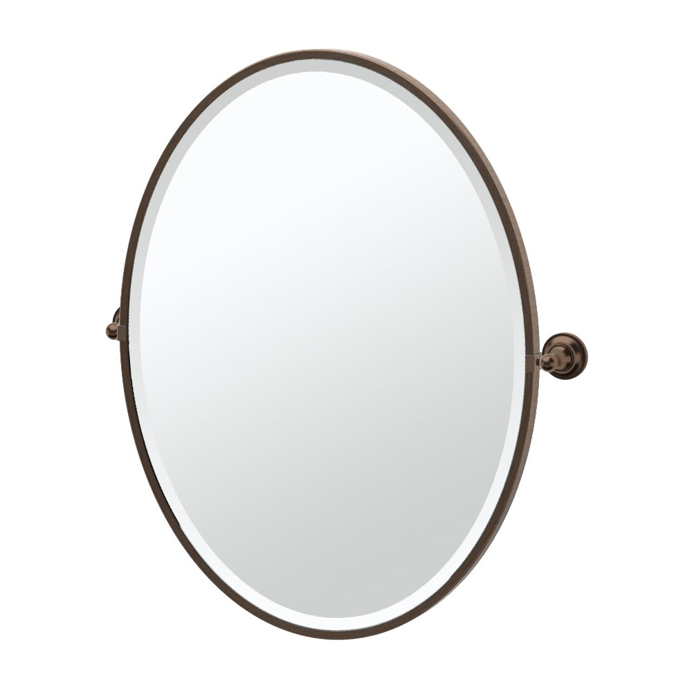 Gatco 4349FLG Tiara Framed Large Oval Mirror, Bronze
