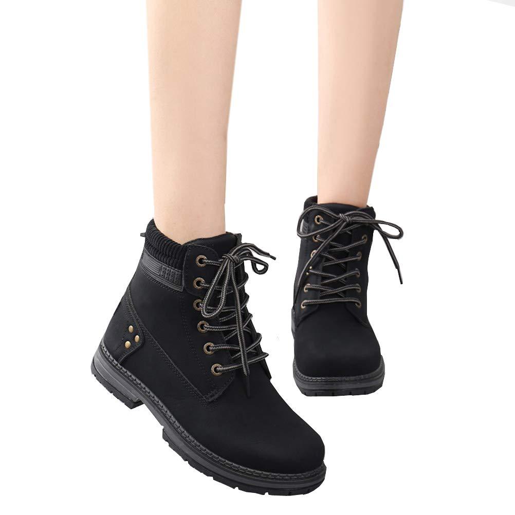 DADAWEN Womens Lace Up Low Heel Work Combat Boots Waterproof Ankle Bootie