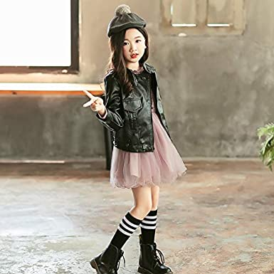 MV Childrens Clothing Jacket Autumn Korean Girls Pu Leather Motorcycle Leather