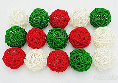 Fascola 24-Pack Multiple Color Wicker Rattan Balls - Decorative Orbs Natural Spheres Craft DIY, Wedding Decoration, Christmas Tree, House Ornaments Vase Filler -,Green, White, Red Rattan Ball,30 mm (Tall Rattan Vase)