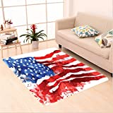 Nalahome Custom carpet Flag Of America Watercolor Splash Style National Independence Symbol Abstract Art Red Blue White area rugs for Living Dining Room Bedroom Hallway Office Carpet (5' X 7')