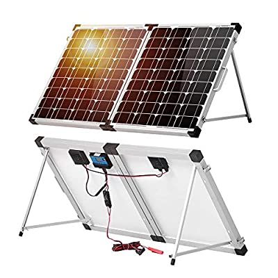 DOKIO 100 Watt 12 Volt Monocrystalline Foldable Portable Solar Suitcase with Waterproof Charge Controller for Caravan RV Boat Camper