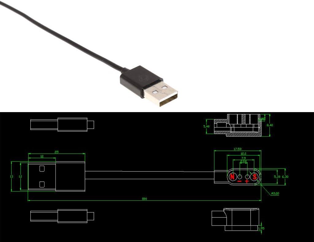 Gwxevce C/âble de Charge de Charge magn/étique pour Montre Intelligente avec fiche magn/étique 2.84mm