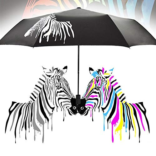 Color Changing Umbrella Portable Parasol, WitspaceAnti-UV Foldable Umbrella Zebra Sunshade Rain Shade Parasol by Witspace