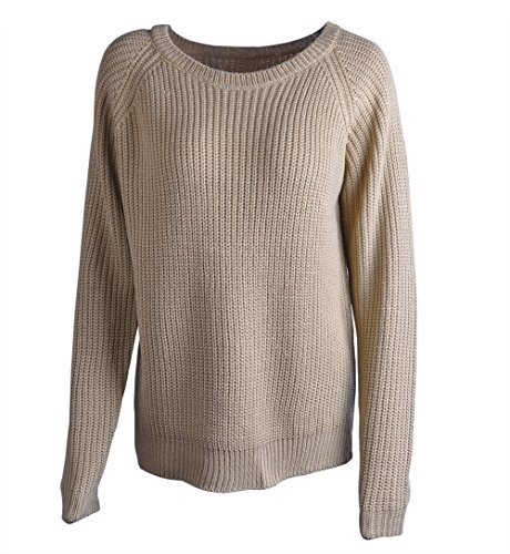 Oyanus+Women%27s+Casual+Round+Neck+Long+Sleeve+Cable+Knit+Pullover+Sweater+Khiki+S