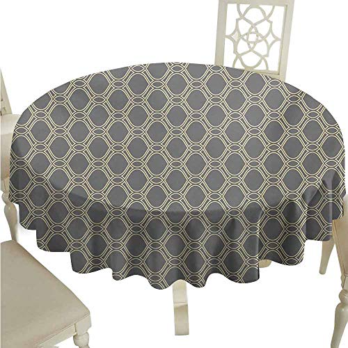 duommhome Geometric Durable Tablecloth Oval Shapes with Curved Lines Ornamental Composition of Abstract Shapes Easy Care D63 Beige and Taupe