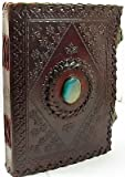 JSK43 Handmade Paper 6x8 Embossed Leather Center Stone Journal with Two Brass Latches