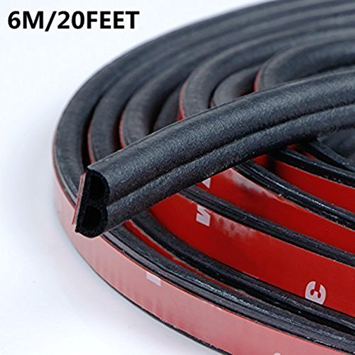 Self Adhesive Automotive Rubber Seal Strip Weatherstrip Car Weather Stripping for Car Window Door Engine Cover Noise Insulation(B-Shape Black total length 6M/20 Feet (Black Self Adhesive Weatherstrip)