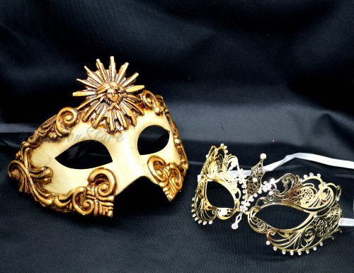 Roman Couples Costumes - New Couple Lover Mask Gold Sun God + Gold Extravagant Mardi Gras Venetian Halloween Ball Prom Masquerade Mask by QJ