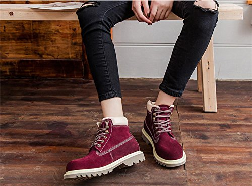 NVXIE Women's Ankle Boots Low Heel Lace-up Leather Shoes Locomotive Autumn Spring Real British Style Leisure Outdoor WINERED-EUR36UK354 PFKSNCk6J