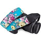 Wolven Pattern Cotton Camera Neck Shoulder Strap Belt Compatible for DSLR/SLR/Men/Women etc, Green Flower