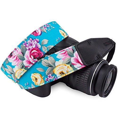 - Wolven Pattern Cotton Camera Neck Shoulder Strap Belt Compatible for DSLR/SLR/Men/Women etc, Green Flower