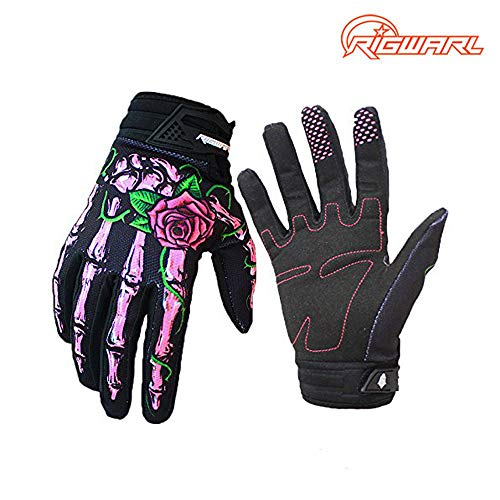 RIGWARL Full-Finger Motocross Gloves Skeleton Bones Motorcycle Gloves for Men Women Non-Slip and Resistance to Abrasion for Biking Cycling Climbing Hiking (Pink, Small)