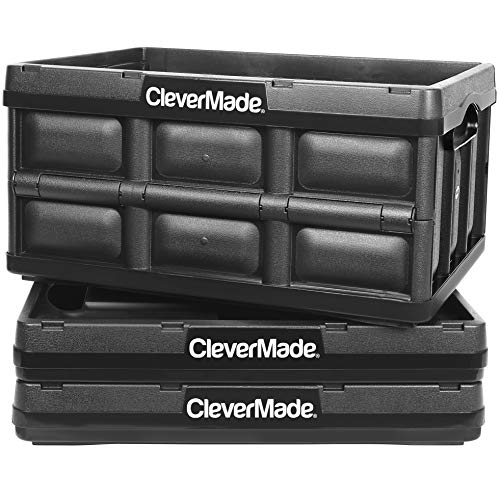 CleverMade 32L Collapsible Storage Bins - Durable Plastic Folding Utility Crates, Solid Wall Stackable Containers for Home & Garage Organization, Black, 3 Pack