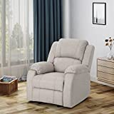 Michelle Classic Fabric Gliding Recliner, Beige For Sale