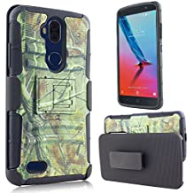 ZTE MAX XL Case, ZTE Bolton Case (4G LTE), ZTE Blade Max 3 Heavy Duty Shockproof Full-body Protective Hybrid Case Cover with Swivel Belt Clip and Kickstand (Camo Green)