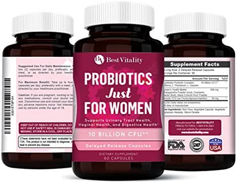 Bestvitality Daily Probiotics Supplement for Women - Formulated with 10 Billion CFUs - Improve Digestion, Skin Health, Boost Immunity, Relieve Constipation & Support Vaginal Health (3)