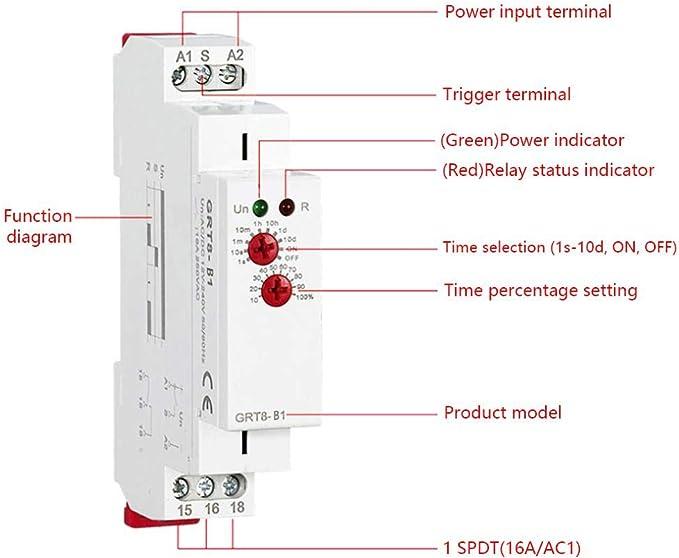 GRT8-B1 Mini Rel/é de retardo del tiempo de retardo AC 220V Rel/é del temporizador Riel DIN 35mm Interruptor del rel/é del temporizador de retardo para control industrial AC max.6VA 1.3W