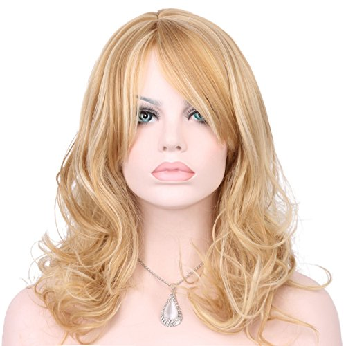 Price comparison product image KeeWig Synthetic Blonde Wig Wavy Light Butterscotch with Pale Blonde Highlights JENNY #24BH613