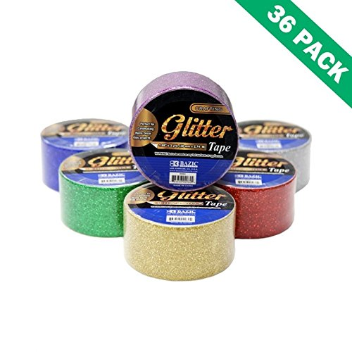 Gold Tape Glitter, Color Silver Glitter Adhesive Tape 1.88 In X 3 Yard-box Of 36 by Bazic-Products