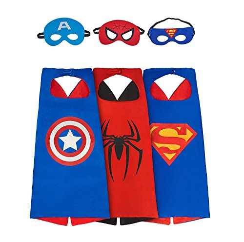 SPESS Costumes Toddlers 3Pcs Capes and Masks costumes for kids (Different Spiderman Costumes)