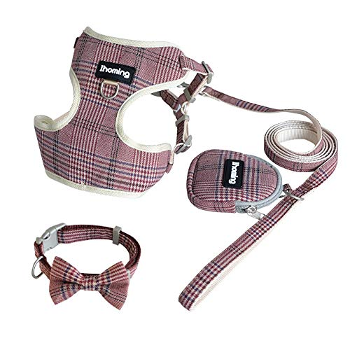 Ihoming Adjustable Matching Dog Collars Harnesses and Leashes Set for Daily Walking Running Lead Control Fit Middle Large Dogs Coffee&Red (Sets And Lead Dog Small Collar)